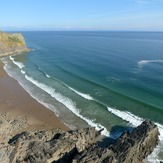 Tiny summer swell at Mewslade, Mewslade Bay