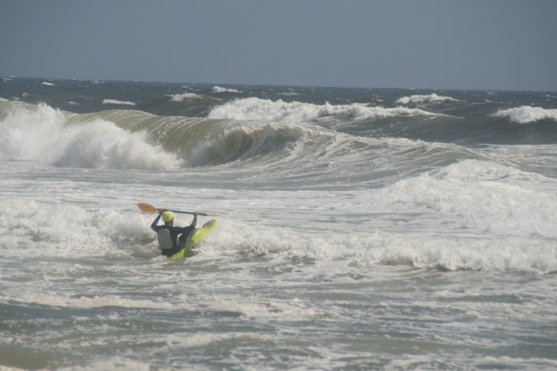 Surf Kayaking from Tropical Storm Leslie, Jones Beach State Park