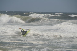 Surf Kayaking from Tropical Storm Leslie, Jones Beach State Park photo