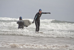 First hardboard session, Druridge Bay photo