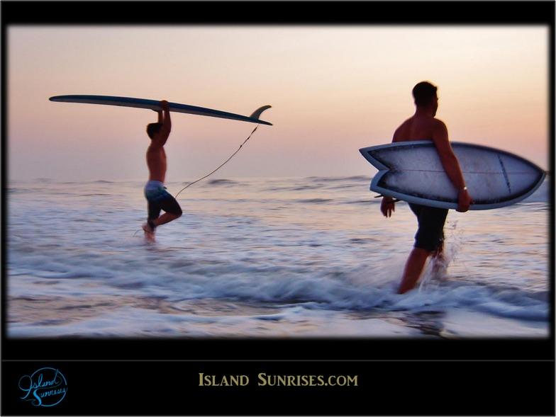 Brothers surfing near Fernandina Beach Pier, Fernandina Pier