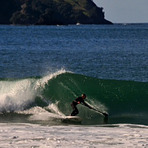 Al from Russell cranking off a sweet left-hand peak, Matauri Bay