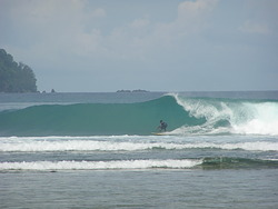 Jethro setting up for the tube, Cape Barabar photo