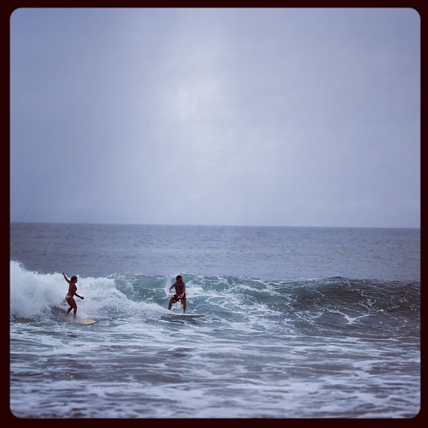 Two local surfers ripping the wreck out of it, Shipwreck