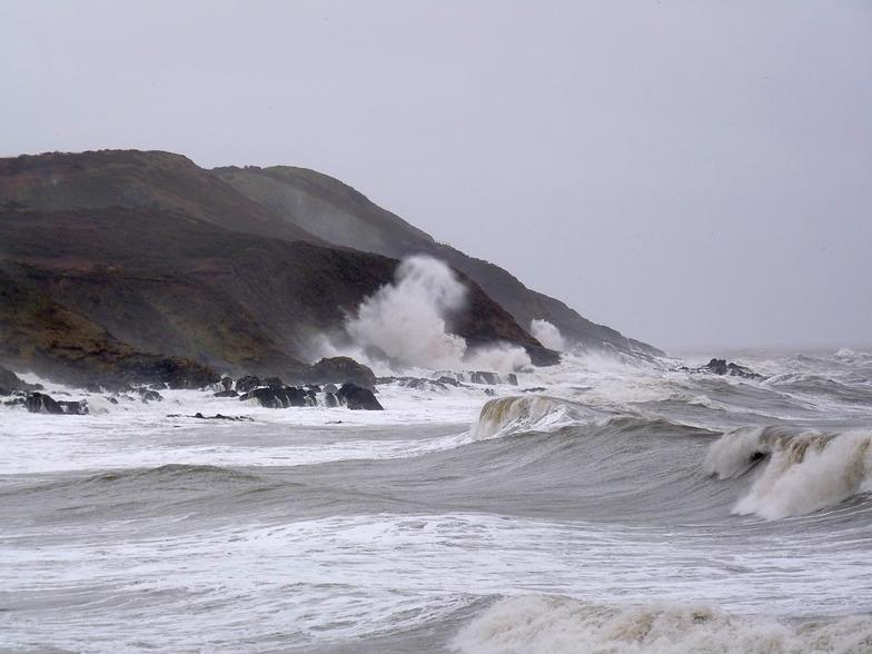 Storm surf at Langland Bay
