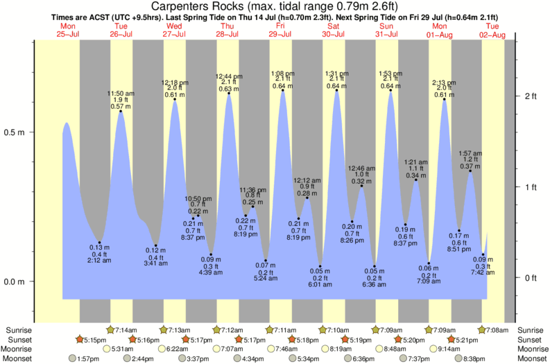 tide graph for Carpenters Rocks surf break