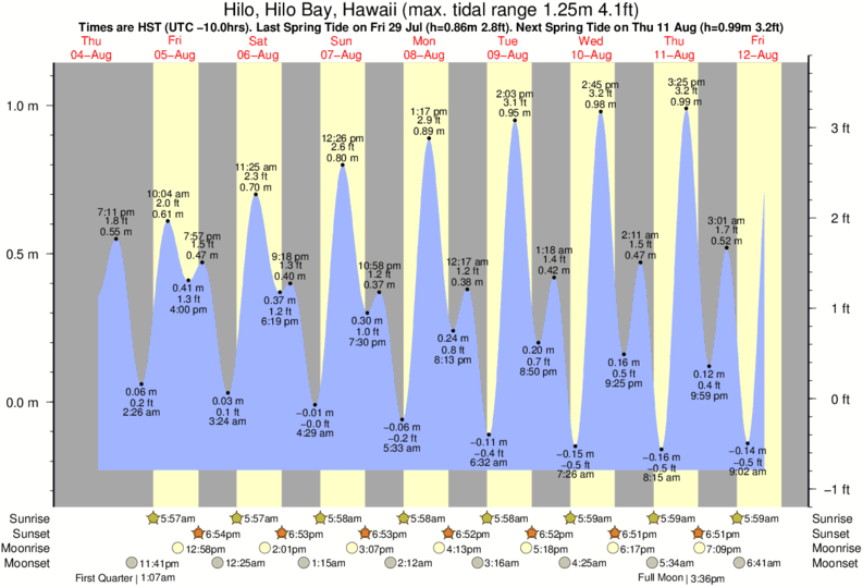 tide graph for Hilo, Hilo Bay, Hawaii near Richardsons surf break