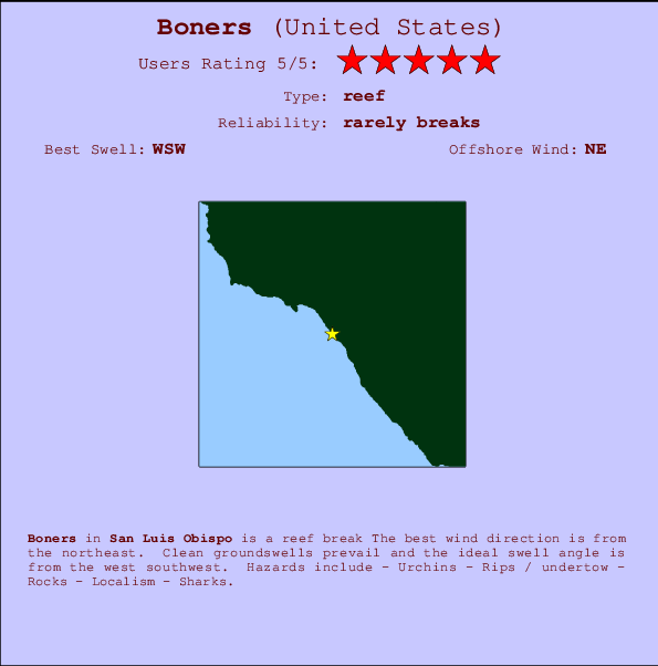Boners break location map and break info