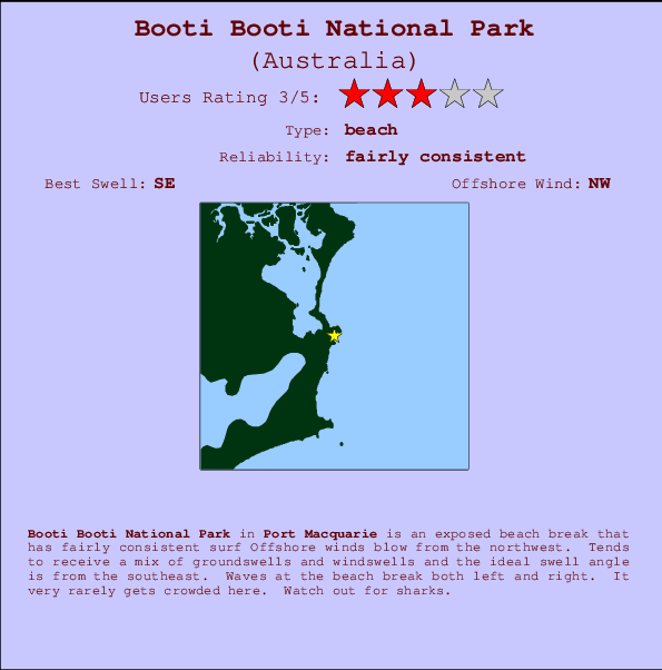 Booti Booti National Park break location map and break info