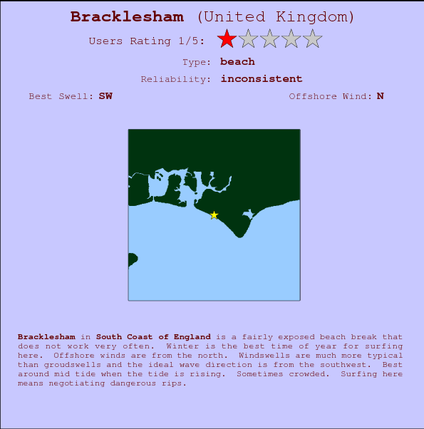 Bracklesham break location map and break info