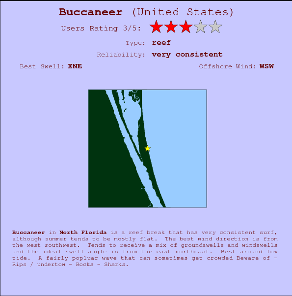 Buccaneer break location map and break info