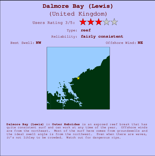 Dalmore Bay (Lewis) break location map and break info