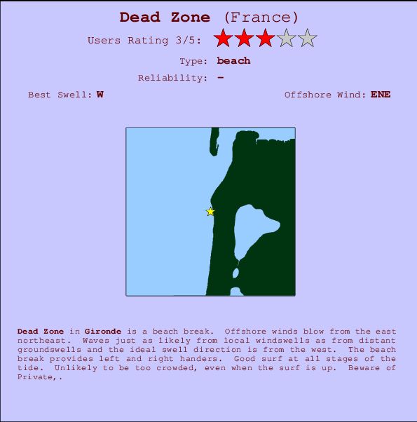 Dead Zone break location map and break info