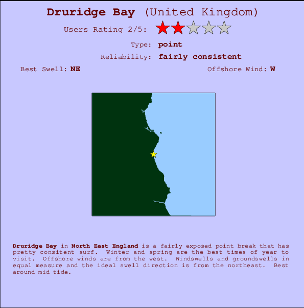 Druridge Bay break location map and break info
