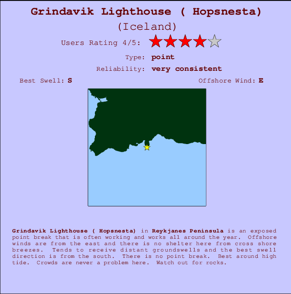 Grindavik Lighthouse ( Hopsnesta) break location map and break info