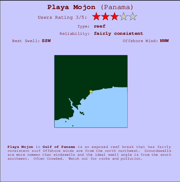 Playa Mojon break location map and break info