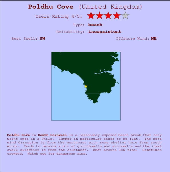 Poldhu Cove break location map and break info