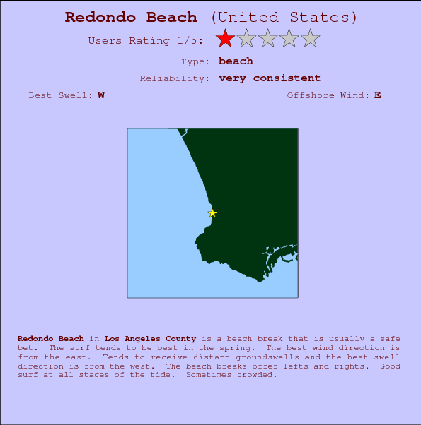 Redondo Beach break location map and break info