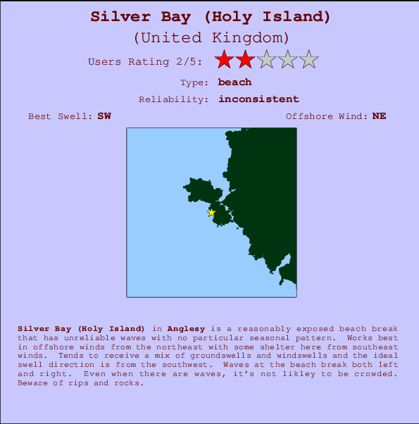 Silver Bay (Holy Island) break location map and break info