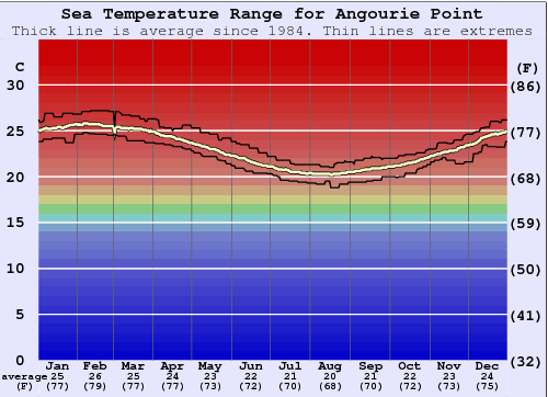 Angourie Point Water Temperature Graph