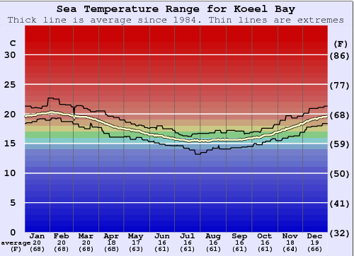 Koeel Bay Water Temperature Graph