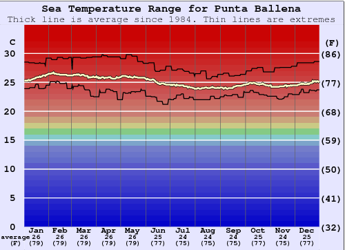 Punta Ballena Water Temperature Graph
