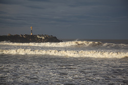 Lone Surfer's only wave, Anglet - La Barre photo