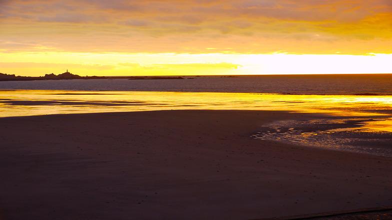 St Ouens Bay at sunset, St Ouen's Bay - Watersplash