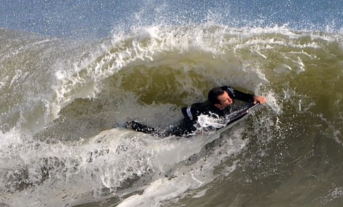 Bodyboarder's Ripping It at Jenkin's Beach, New Jersey, Jenkinsons (Point Pleasant Beach)