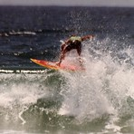 Mark Bell surfing M.R.'s board, Catherine Hill Bay