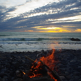 sunset and fire, Banks Peninsula - Magnet Bay