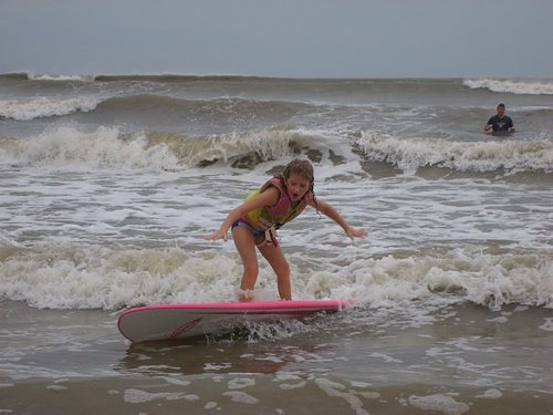 First time surfing, Galveston