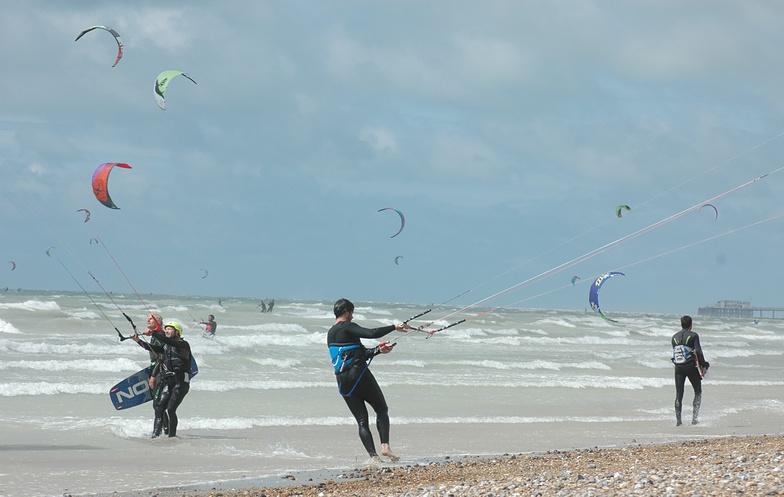 Kite surfing at South Lancing Beach