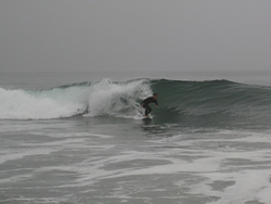 Surfer, heavy marine layer, Gillis photo