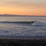 Winter sunset surfing., Te Awanga