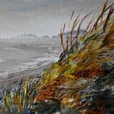 Grass Fire - Watercolour painting of Cherry Hill Beach