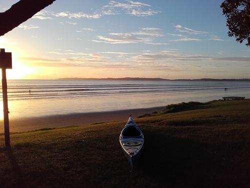 Delphin sunrise surf session at Orewa., Orewa Beach