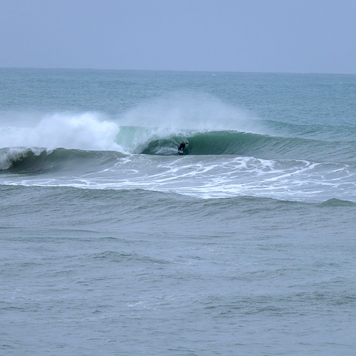 Stalling for another tube, Mahia Spit