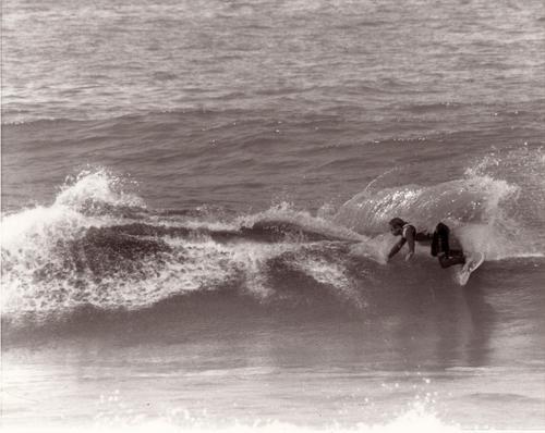 Mark Bell surfing Mark Richards board, Catherine Hill Bay