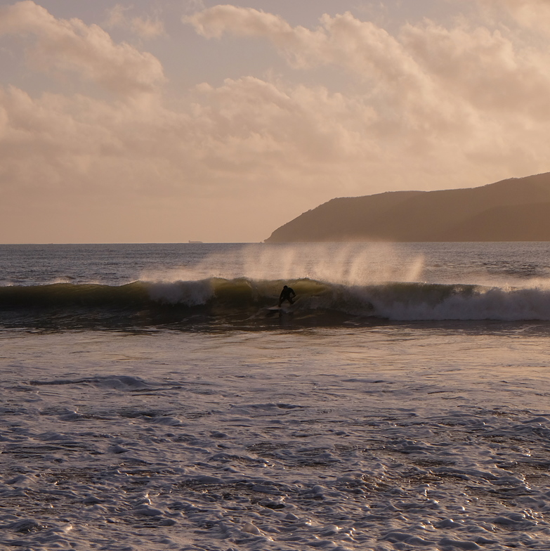 The steep inside wave on the beach at Nera River, Nera Rivermouth