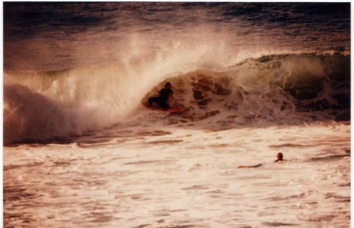 Mark Bell laying back in big hollow left, Catherine Hill Bay