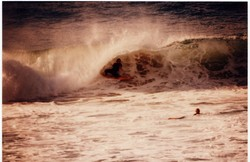 Mark Bell laying back in big hollow left, Catherine Hill Bay photo
