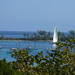 Sailboat viewed from Ft Charlotte 2008, Paradise Island