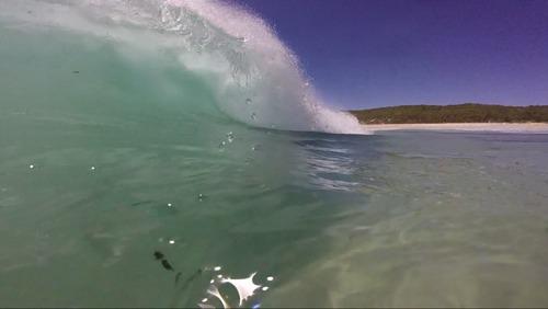 Right hand shorebreak barrel, Smiths Point and Beach