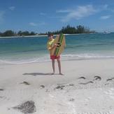 Hayden Pearson with a skim board., Anna Maria Island