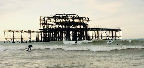West pier fires sometimes, Brighton