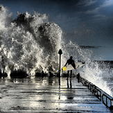 Big waves At Courtown Harbour Co. Wexford Ireland.