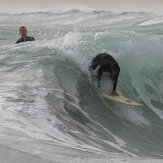 Bank breaking messily, but with barrel, Scarborough Beach