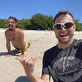 Surf warm up yoga on the beach, La Lancha
