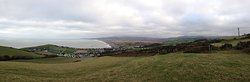 Borth beach and town photo